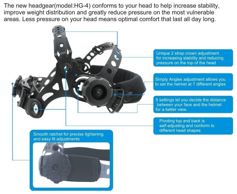 Купить с кэшбэком Auto darkening welding helmet/welding mask/MIG MAG TIG(Grand-918I/958I)/4arc sensor/Solar cell&Replaceable Li-batteries
