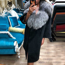 New Brand Hot Sale Winter Real Fur Coat Women With Big Fox Fur Collar Natural Fur Coats Women Real Fur Jacket Leather Black