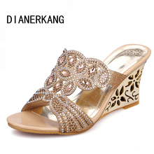 New 2016 Summer Fashion Women Sandals Sexy Rhinestone Butterfly Cut-outs High Heels Wedges Sandals Party Shoes Woman Slides L35