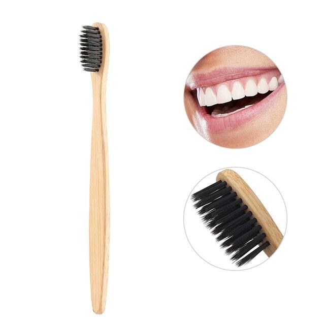 1 ud. Envío Directo respetuoso con el medio ambiente cepillo de dientes de carbón de bambú Natural cerdas suaves mango de madera de bajo carbono cepillo de limpieza de dientes portátil