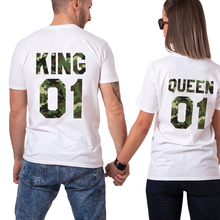 His and Hers King Queen 01 Shirts Chic Couple Lover Camo T Shirt Men Women Hip hop Female Short Sleeve T-Shirt Hommes