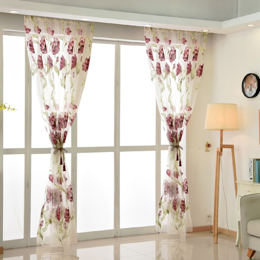 Tulle Curtain Green Leave Red Flower Spring Summer Transparent Sheer Fabrics For Window Treatments Short Panel Rustic Curtains Curtains