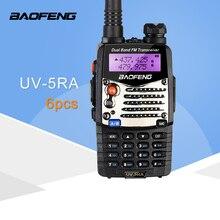 (6 PCS) Baofeng UV5RA חם שתי דרך רדיו מכשיר קשר להקה כפולה משדר (שחור)