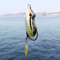 4PCS Soft Rubber Frog Lure Fishing Tackle Snakehead Topwater Simulation Popper Double Hooks 55mm 12g Single hook Slice 60mm 14g