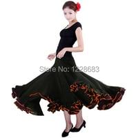 Yüksek Kalite Siyah Kırmızı Spandex Likra İspanya Dans Kızlar Uzun Etek Flamenko Flamenko Elbise Kostüm Traje De Flamenca Kostümleri