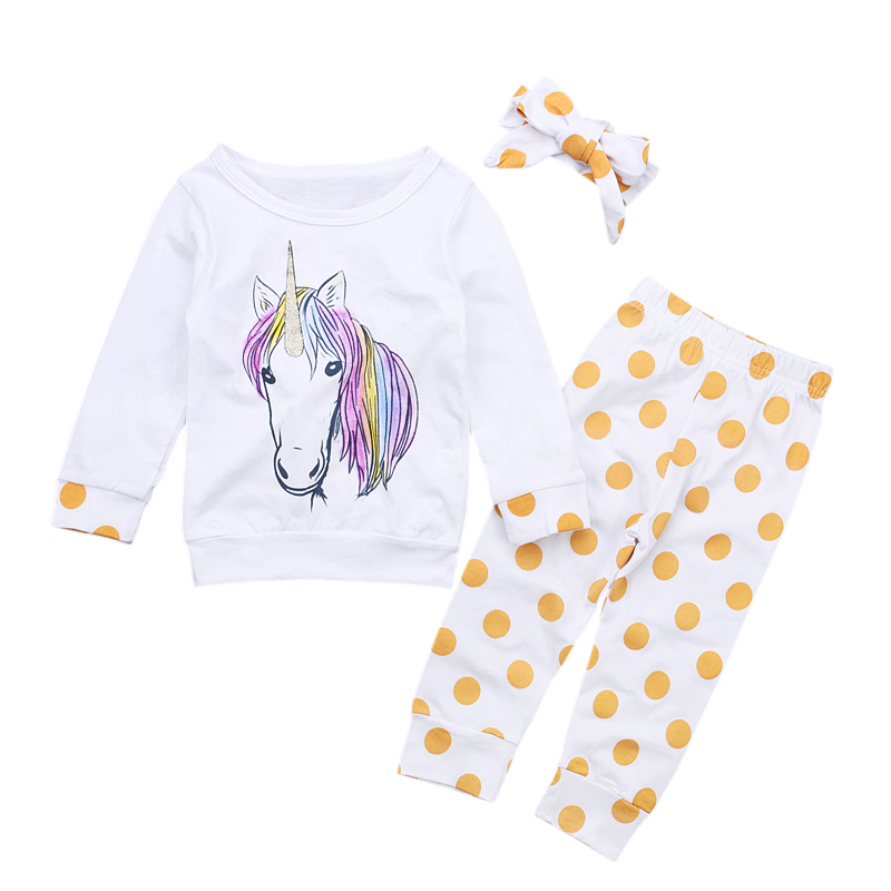 5d9f51a959f99 Baby 3Pcs Unicorn Clothing Set Newborn Baby Girls Kids Unicorns Polka Dots  Outfit Clothes T shirt Tops Pants Headband Sets DS20-in Clothing Sets from  Mother ...