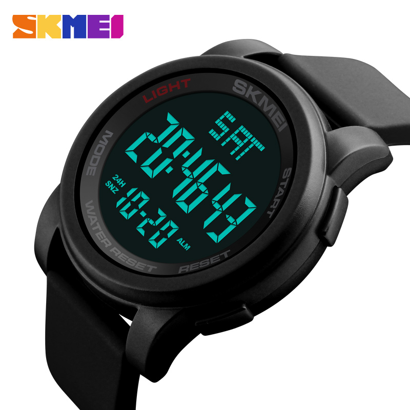 SKMEI Brand Men's Watches LED Digital Watch Men Wrist Watch Black Alarm 50m Waterproof Sport Watches For Men Relogio Masculino zgo high quality resin sport watch men 50m water resistant 1 year warranty white black golden sport wrist watch