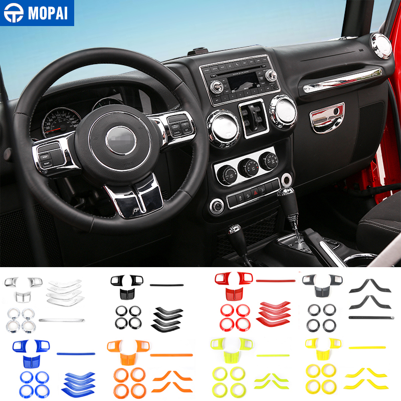 MOPAI Car Steering Wheel Trim Air Condition Vent Cover Interior Decoration Accessories Sticker Styling for Jeep Wrangler 2011+