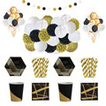 ipalmy Black&Gold Party Supplies Tableware Decorations Paper Plate Cup Napkin Straw Paper Flower Honeycomb Paper Lantern Balloon