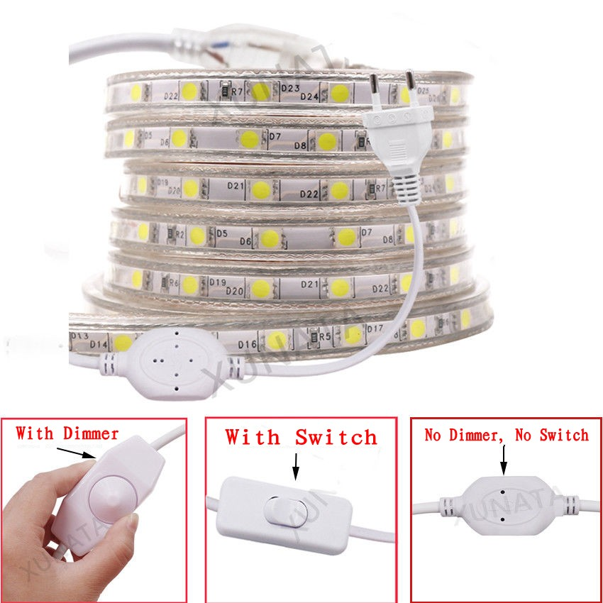 Waterproof 5050 SMD LED Strip AC 220V light Tape 1M/2M/3M/4M/5M/6M/7M/8M/9M/10M/15M/20M/25M + Dimmer on/off Switch EU Power Plug