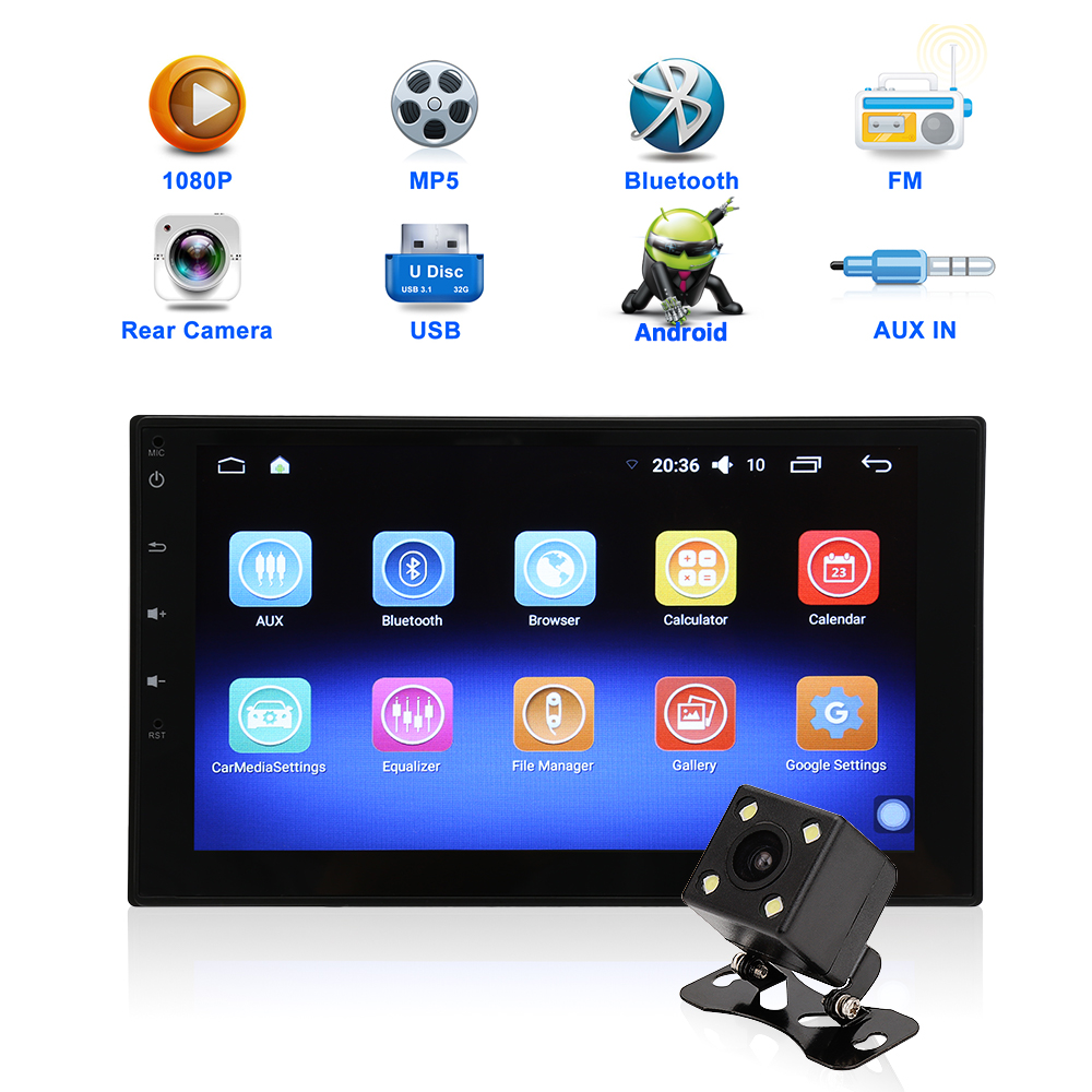 2 din android autoradio 2DIN autoradio bluetooth Android 6.0 GPS Navigation universel voiture MP5 lecteur 3G WIFI 7