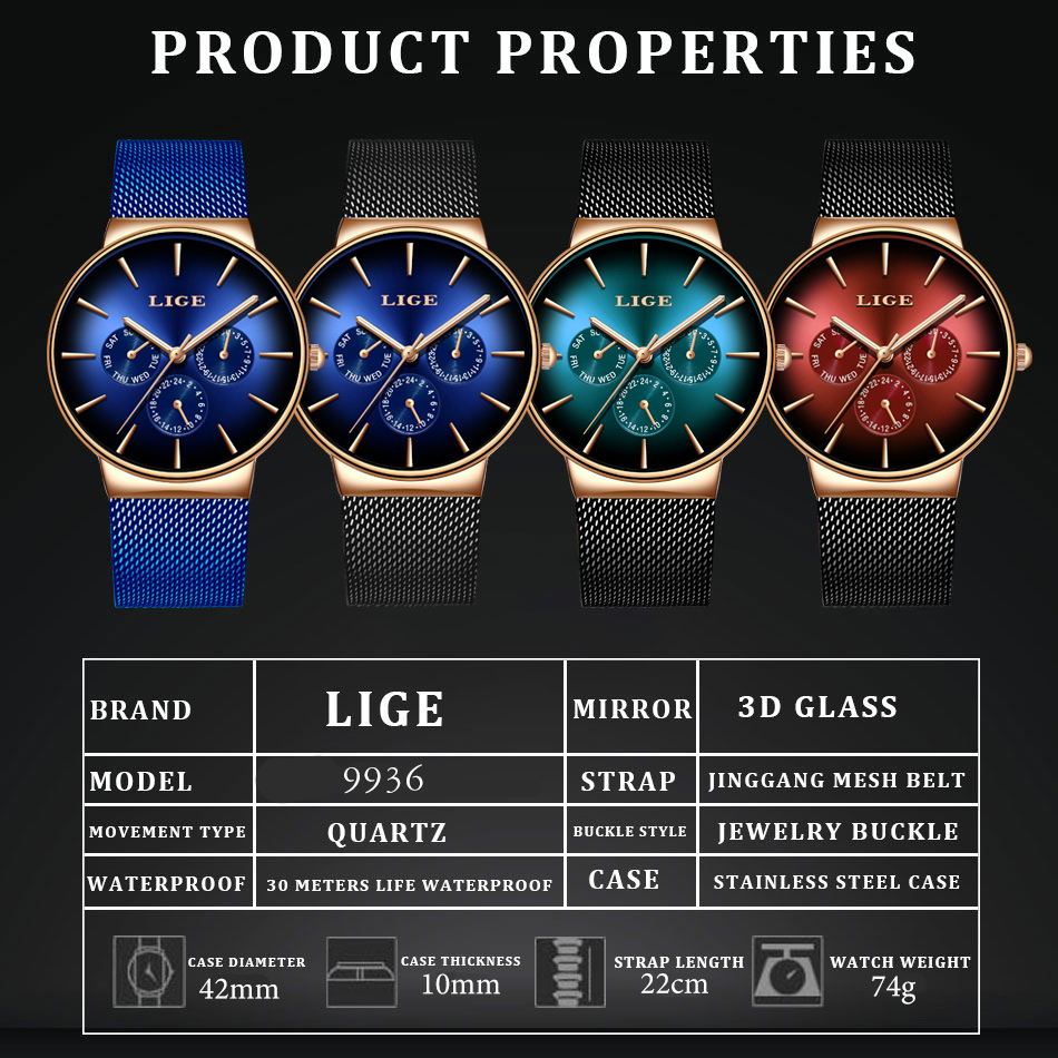 HTB19l4UXfWG3KVjSZFgq6zTspXaE 2019 LIGE Casual Thin Mesh Belt Fashion Quartz Gold Watch Mens Watches Top Brand Luxury Sport Waterproof Clock Relogio Masculino