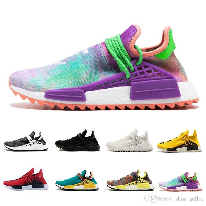 Race humaine chaussures de course pharrell williams Hu sentier Crème De Base Noir nerd L'égalité holi formateurs Hommes Femmes sneaker de sport