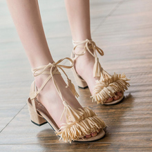 Women Ankle Strap Gladiator Sandals Thick Heels Peep Toe Lace Up Tassel Shoes Sandals Fringe Square Heel Flock Bandage Sandals women new design white leather lace up mix color ball design thick heel sandals gladiator sandals ladies beach sandals