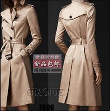 S-3XL Plus size 2015 spring autumn new women's brand fashion slim double-breasted In the long trench coat outerwear
