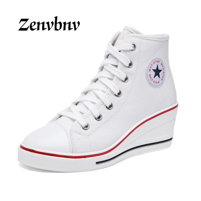 ZENVBNV Star Women Wedges Shoes High Top Pumps All Women Casual Shoes Female Height Increasing Platform Canvas Shoes Big size 43 hee grand fashion height increasing women shoes zip white black women casual pumps wedges shoes drop shipping xwc471