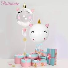PATIMATE Unicorn Balloons Birthday Helium Air Decor Accessories Unicornio Party Baby Shower Boy