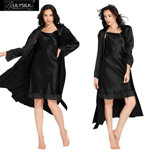 Lilysilk Silk Nightgowns Robe Set Women Sexy 22 Momme Black Tank Nightdress Lingerie Bathrobe Long Nightwear Winter Sleepwear