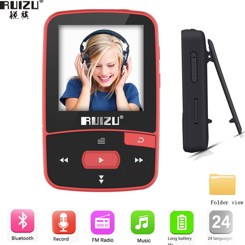 Новое поступление оригинальный ruizu X50 Спорт Bluetooth MP3-плееры 8 ГБ клип мини с Экран Поддержка FM, Запись, электронная книга, часы, шагомер