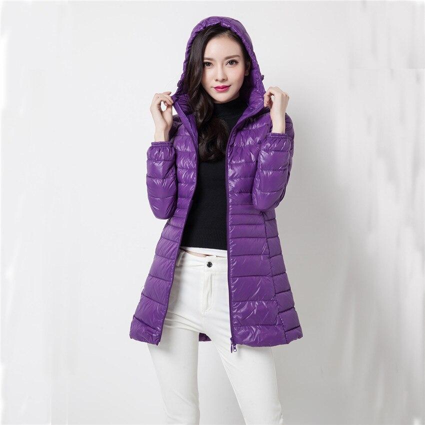 Image 2 - 2018 New Winter Slim Women Midi Long White Duck Down Jacket Big  Size Down Jacket Lady Down Coat Hooded Coats Female Jackets 403Down  Coats