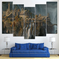 5pcs Painting Diamond Embroidery Castle Fantasy 5D DIY Diamond Painting Cross Stitch Landscape Full Square Diamond
