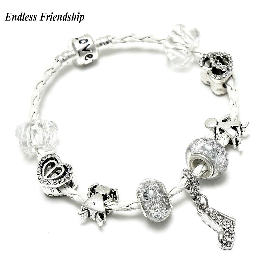 Luxury DIY Crystal High Heels Dangles Pandora Bracelets & Bangles Plated Silver Jewelry Charm Bracelet For Women Gifts Jewelry