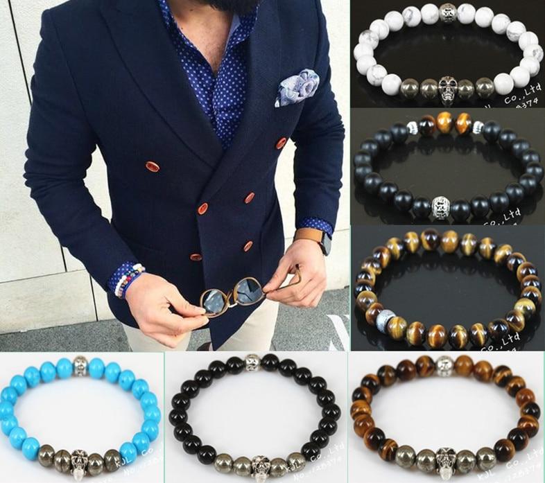 man wristwear jewelry watch accessory set 8mm matte tiger eye crackle iron ore silver plated skull charm beaded Bracelet