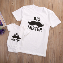 2017 Cool Summer Family Match Clothes Big Mister Print Father T-shirt Baby Romper Outfit Cotton Clothes