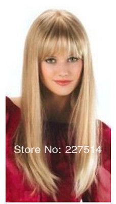 Online shop hot vogue long blonde flat bangs straight hair women hot vogue long blonde flat bangs straight hair women cosplay hair party full wig sciox Gallery