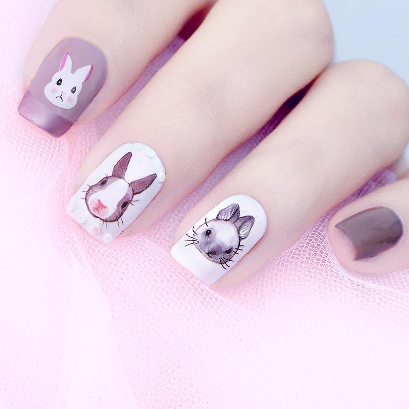 Konijn Water Decal Kawaii Bunny Nail Art Transfer Sticker 12855