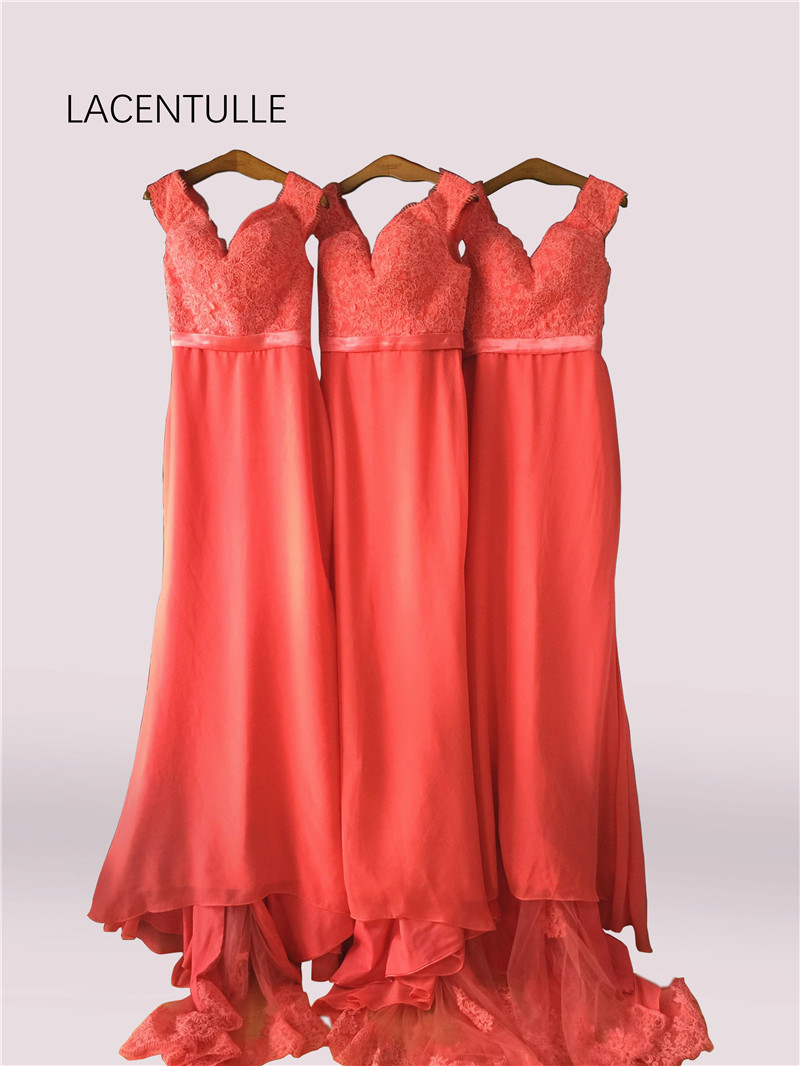 Off the Shoulder Coral Long   Bridesmaid     Dress   with Appliqued Sheer Train Elegant Formal Occasion   Dress   with Belt