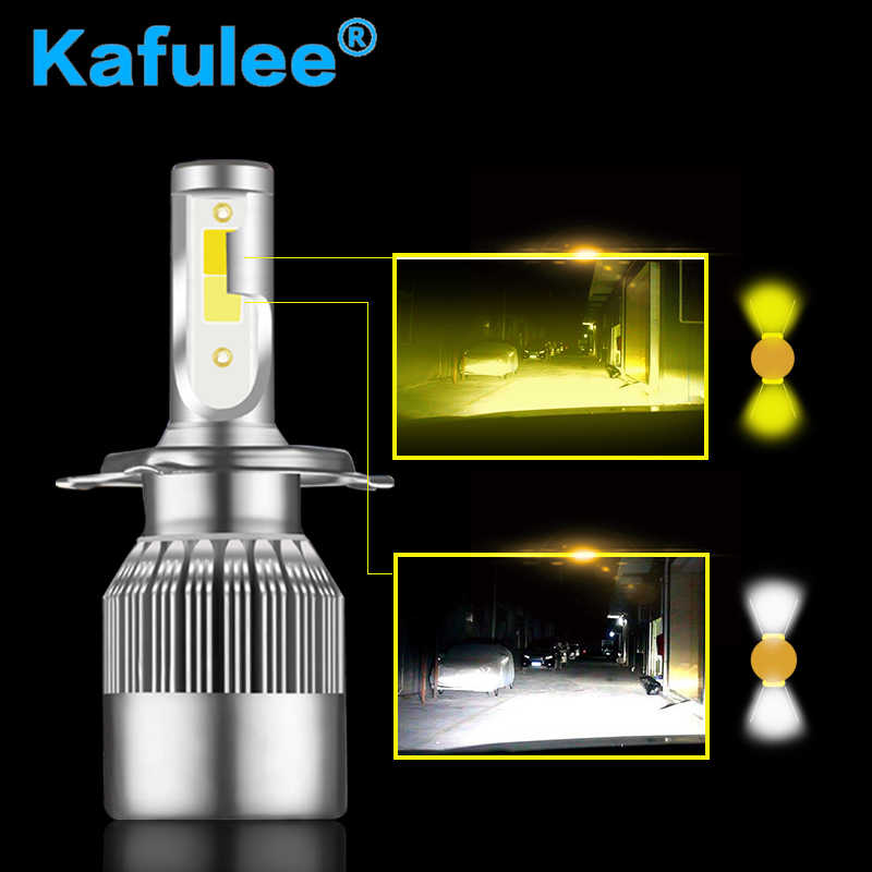 GZ KAFOLEE Car Headlight Bulbs H4 Led 6000K 3000K Led H1 H7 H8 H9 H11 HB3 9005 HB4 9006 60W 7000LM Double Color Headlamp