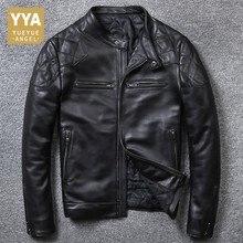 Alta qualidade de luxo dos homens jaqueta couro genuíno moda sólida curta biker jaqueta masculina casual bolso com zíper casacos plus size 5xl