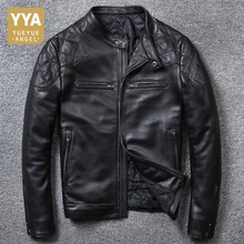 High Quality Luxury Mens Genuine Leather Jacket Fashion Solid Short Biker Jacket Male Casual Pocket Zipper Coats Plus Size 5XL