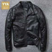 Wysokiej jakości luksusowa męska kurtka z prawdziwej skóry moda jednolita, krótka kurtka motocyklowa mężczyzna dorywczo kieszeń płaszcze z zamkiem błyskawicznym Plus rozmiar 5XL