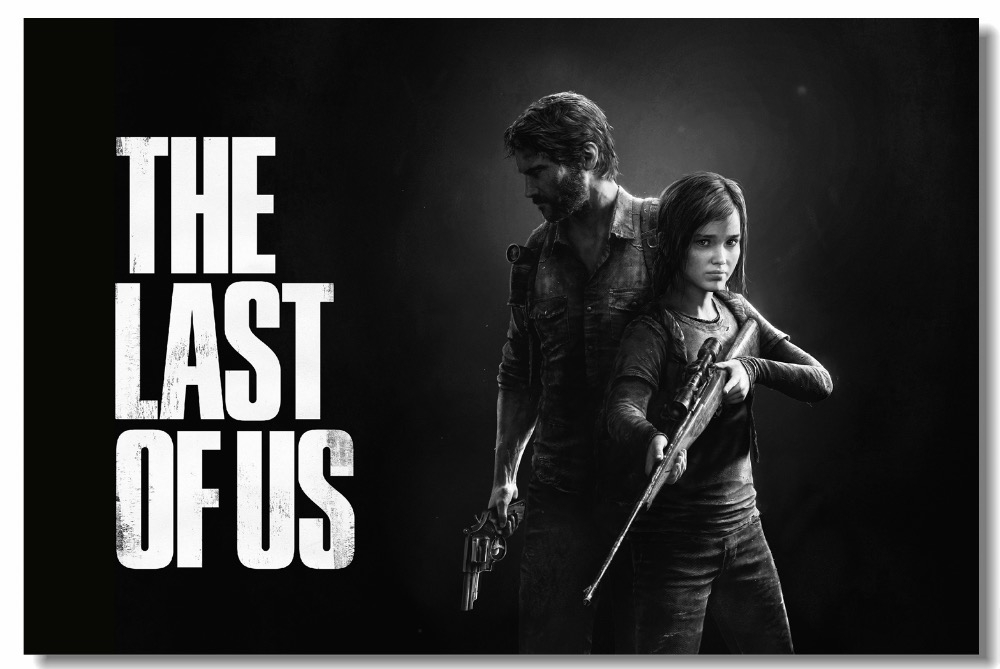 Us 575 28 Offcustom Canvas Wall Decor Black And White Video Game Poster The Last Of Us Wallpaper Joel Ellie Wall Stickers Kids Room 0576 In Wall