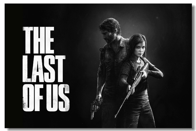 Custom Canvas Wall Decor Black And White Video Game Poster The Last Of Us Wallpaper Joel Ellie Wall Stickers Kids Room #0576#