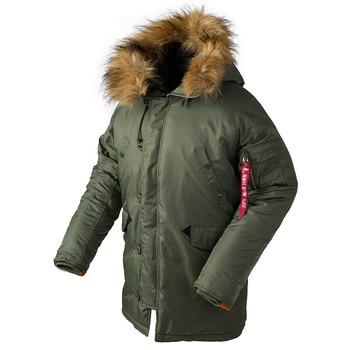 Inverno N3B soprador jaqueta homens longo casaco canadense capuz de pele militar trincheira quente camuflagem tático bombardeiro exército parka homens tamanho EUA 1