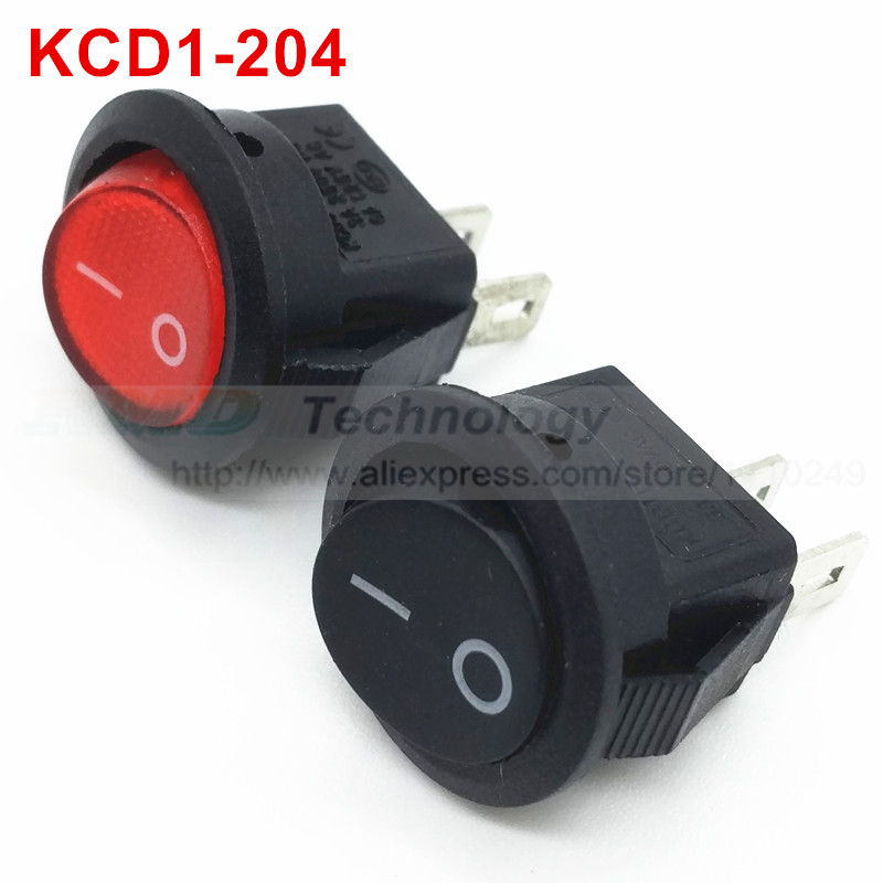 10pcs/lot Delicate Rocker Switch KCD11 KCD1 - 204 15 mm AC 250V 6A 2 Pin Black Red with LED Round ON/OFF SPST Snap in Mini Boat 10 pcs red 2 pin spst off on n o round momentary push botton switch 1a 250v ac