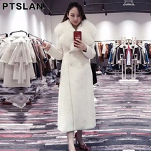 Ptslan Women Alpca Sheep Fur Coat Fashion Women Wool Coat  Fox Fur Collar Long Sheep fur Beautiful Women's Coat