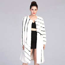 AAA  98cm Length  White and Black Fashion Mink Fur Jackets Genuine Long Fur Coat