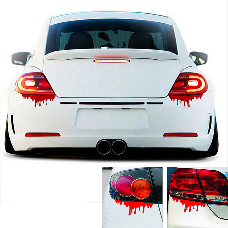 1pcs new design reflective blood bleeding car stickers car decals rear front headlight sticker door window car body in car stickers from automobiles