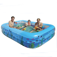Hot Inflatable Family Children's Large Inflatable Printed Rectangular Swimming Pool Babys Paddling Pool Size 196*143*60cm