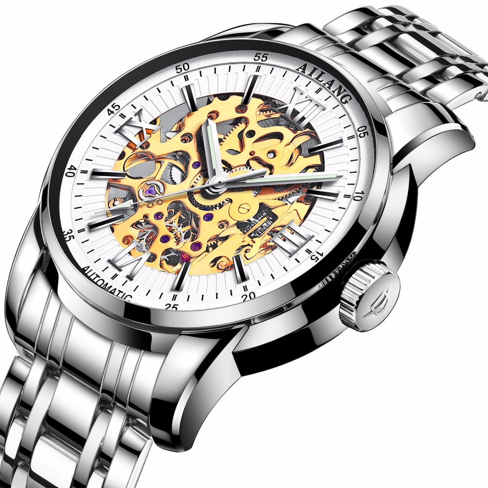 где купить 2017WINNER Mens Military Automatic Mechanical Watch Wrist Watches Stainless Steel Band Skeleton Dial Hands Light of First Brands по лучшей цене