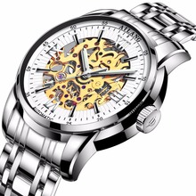 2017WINNER Mens Military Automatic Mechanical Watch Wrist Watches Stainless Steel Band Skeleton Dial Hands Light of First Brands