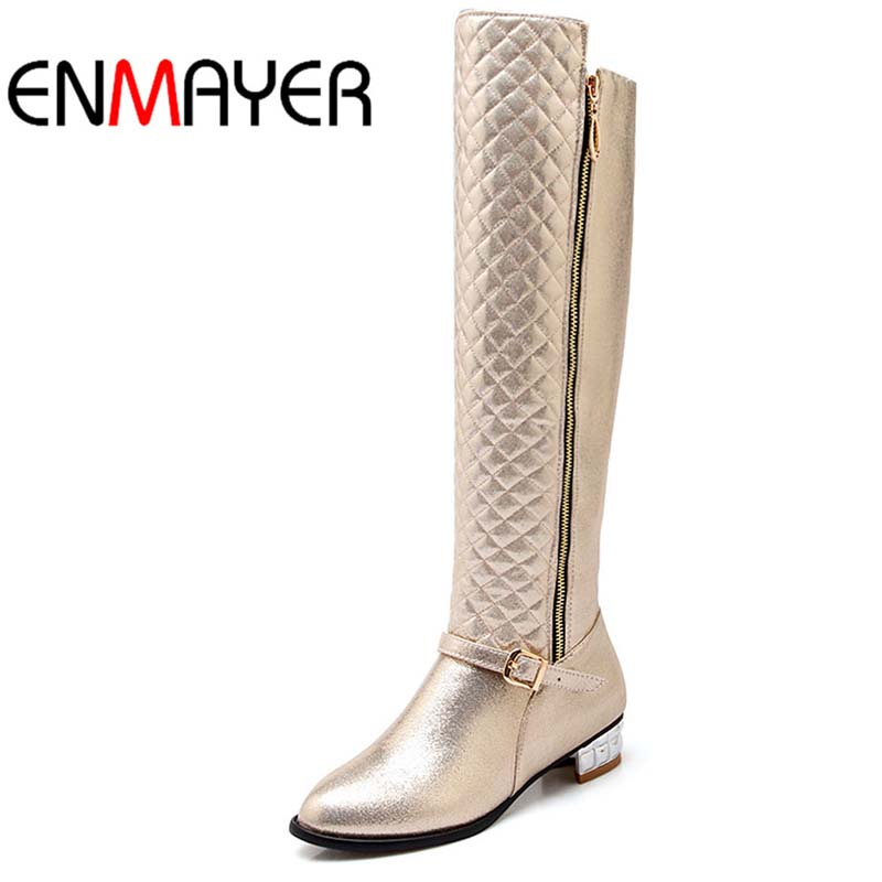 ФОТО ENMAYER Round Toe Low Knee-High Boots For Women New Buckle Fashion Gold, silver, black Winter winter Knight boots Shoes Women