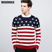 Woodvoice Brand 2017 new autumn winter causal striped sweater men slim fit 100% cotton kintwear american star design Sweater Men
