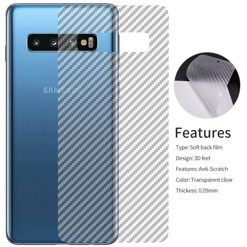 2pcs for Samsung <font><b>Galaxy</b></font> S7 Edge <font><b>S10</b></font> S9 S8 Plus Note 9 8 Note9 A5 2017 Carbon Fiber Back Screen Protector Film <font><b>Sticker</b></font> Full Cover image
