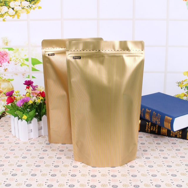 US $10 9 |50pcs 1 pound lamination aluminum foil pouches ziplock stand up  bags coffee tea food grade packaging bags-in Saran Wrap & Plastic Bags from