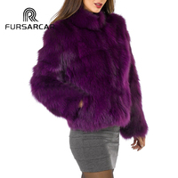 FURSARCAR Winter Luxury Real Fur Coat Women Hot Purple Color Natural Fox Fur Outwear Short Warm Jacket With Fur Collar